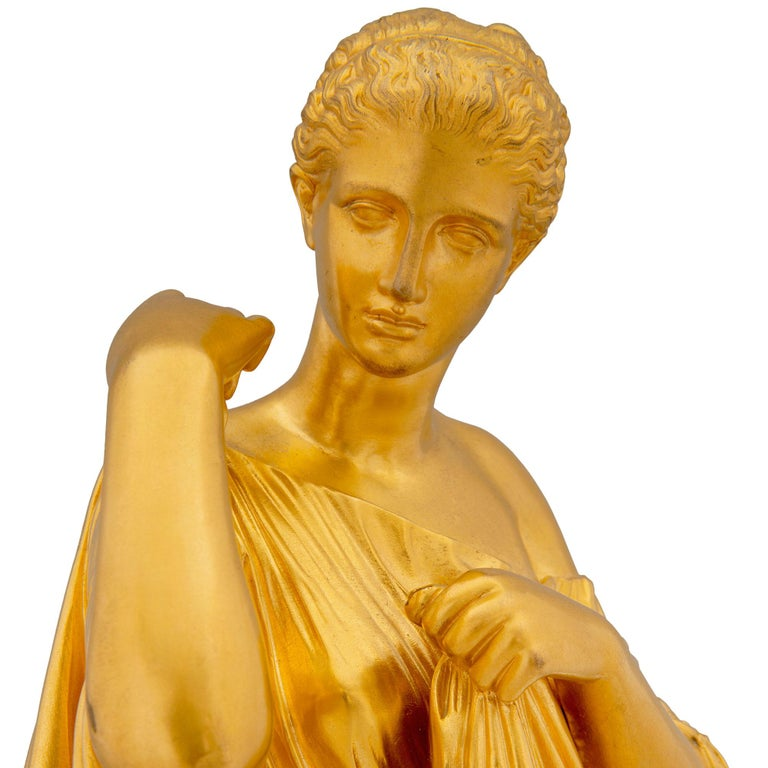 French 19th Century Neoclassical Style Ormolu and Marble Statue of a Maiden For Sale 1