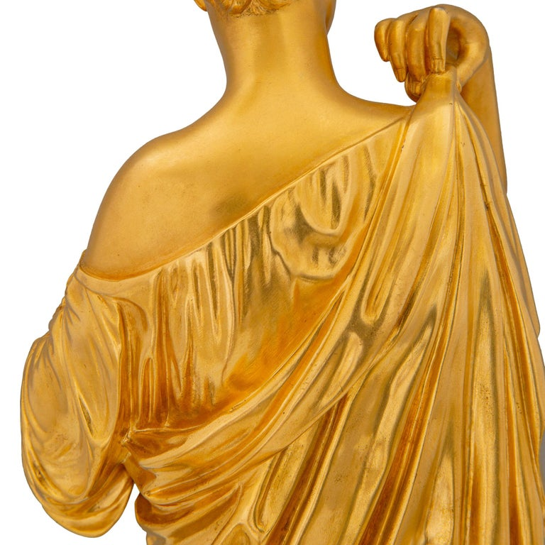 French 19th Century Neoclassical Style Ormolu and Marble Statue of a Maiden For Sale 2