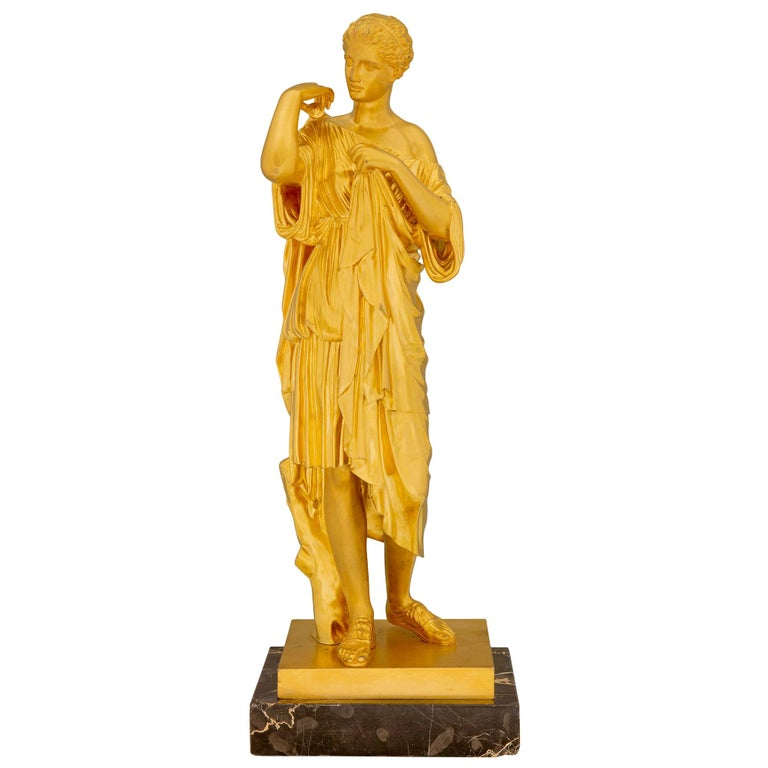 French 19th Century Neoclassical Style Ormolu and Marble Statue of a Maiden For Sale
