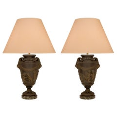 French 19th Century Neoclassical Style Patinated Bronze and Marble Lamps