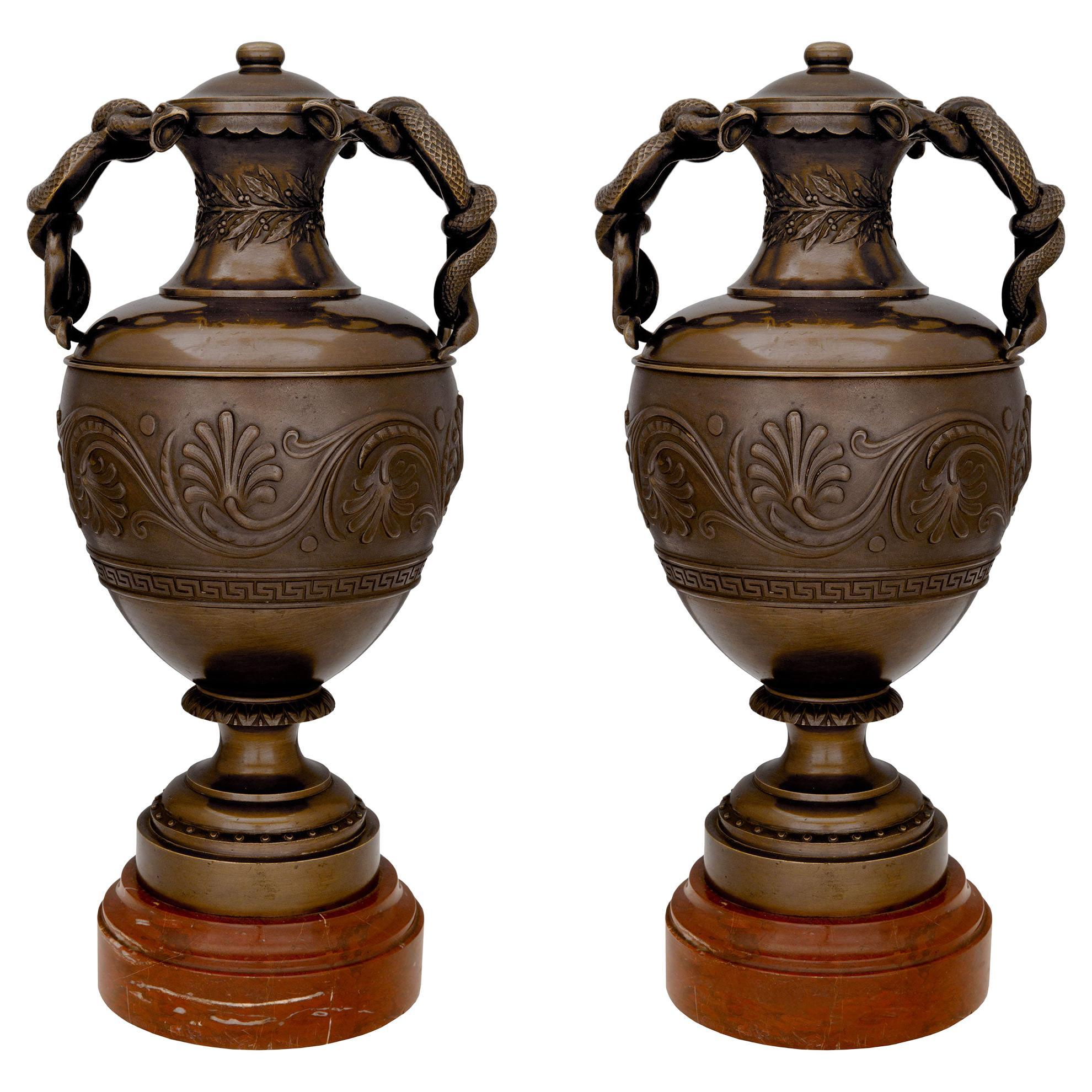 French 19th Century Neoclassical Style Patinated Bronze and Marble Urns