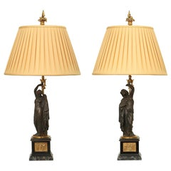 French 19th Century Neoclassical Style Patinated Bronze and Ormolu Lamps