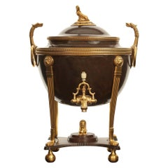French 19th Century Neoclassical Style Patinated Bronze and Ormolu Samovar