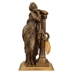 French 19th Century Neoclassical Style Patinated Bronze and Ormolu Statue