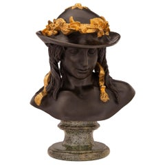 French 19th Century Neoclassical Style Patinated Bronze Bust