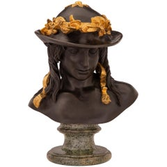 French 19th Century Neoclassical Style Patinated Bronze Bust of David