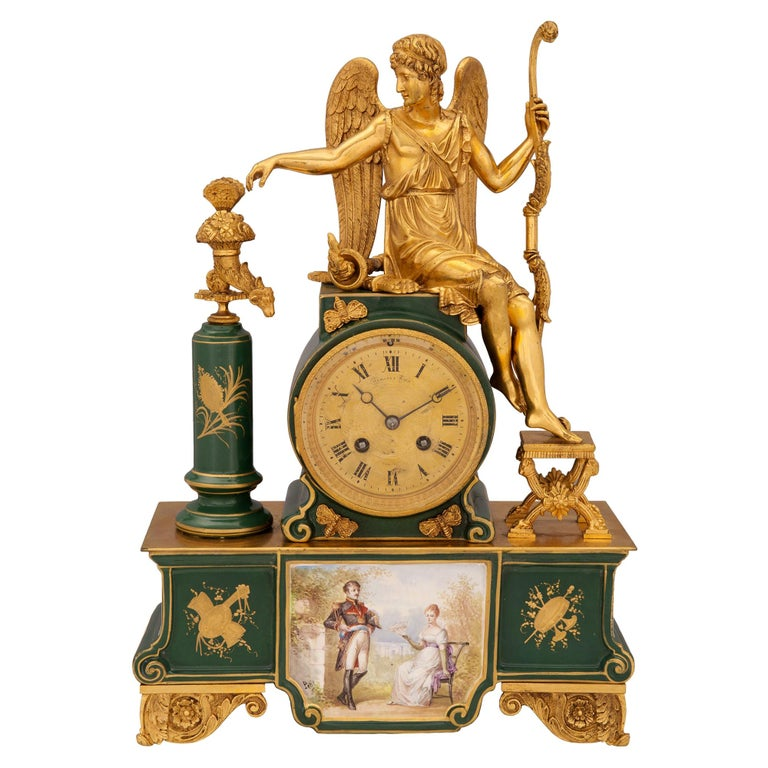 French 19th Century Neoclassical Style Porcelain and Ormolu Clock For Sale