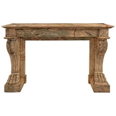 French 19th Century Neoclassical Style Sarrancolin Marble Fireplace Mantel