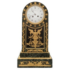 French 19th Century Neoclassical Style Vert Patricia Marble and Ormolu Clock