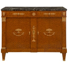 French 19th Century Neoclassical Style Walnut and Ormolu Two-Door/Drawer Buffet