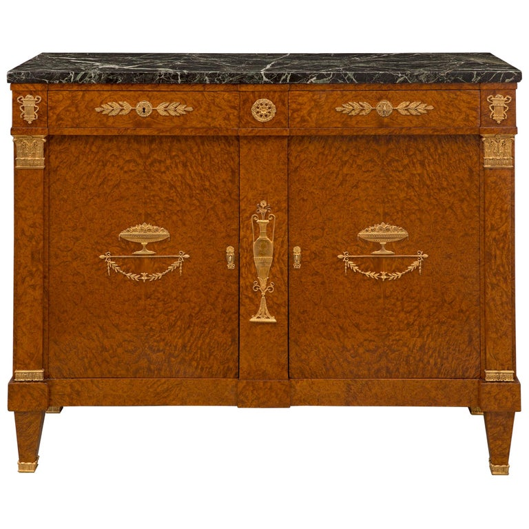 French 19th Century Neoclassical Style Walnut and Ormolu Two-Door/Drawer Buffet For Sale