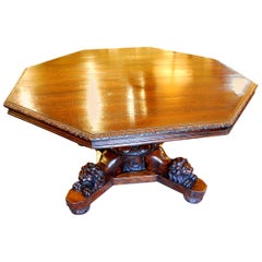 French 19th Century Octagonal Center or Dining Table Carved Recumbant Lion Base