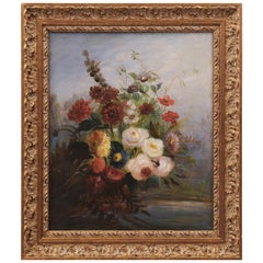 French 19th Century Oil on Canvas Floral Painting circa 1830 in Gilt Frame