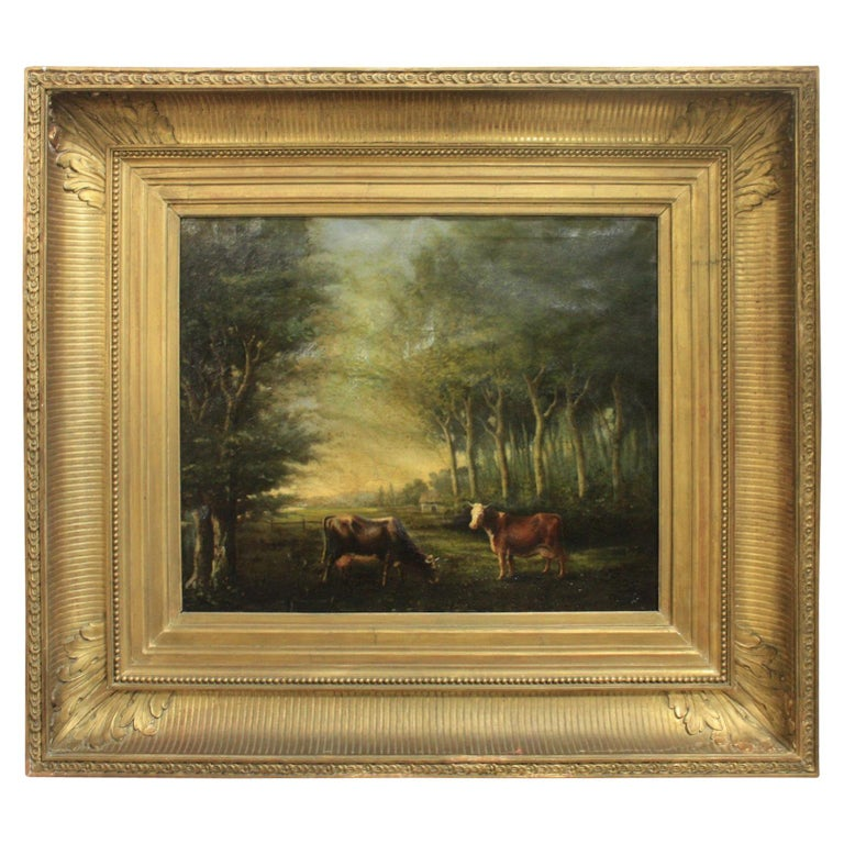 French 19th Century Oil on Canvas For Sale