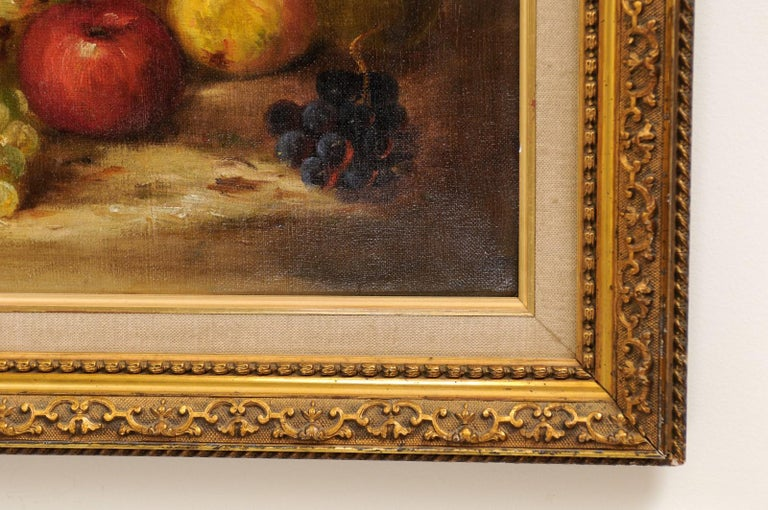 French 19th Century Oil on Canvas Framed Still-Life Painting Depicting Fruits For Sale 7