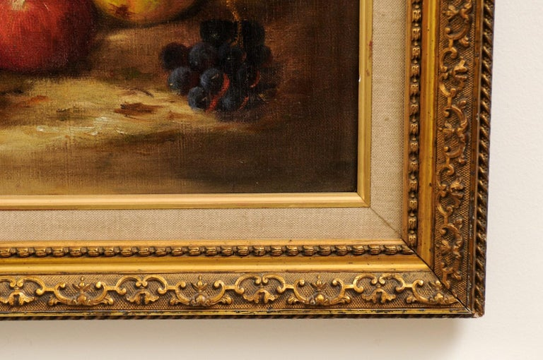 French 19th Century Oil on Canvas Framed Still-Life Painting Depicting Fruits For Sale 8