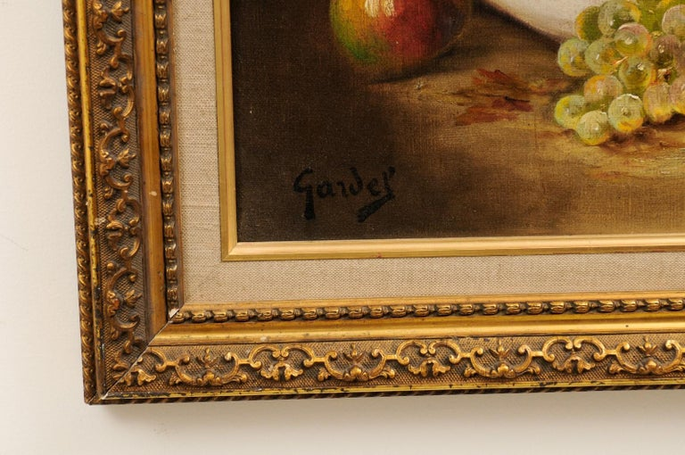 French 19th Century Oil on Canvas Framed Still-Life Painting Depicting Fruits For Sale 9