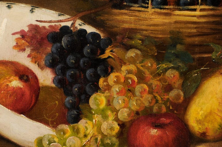 French 19th Century Oil on Canvas Framed Still-Life Painting Depicting Fruits For Sale 12