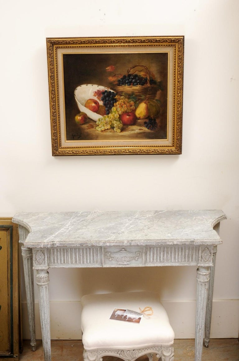 French 19th Century Oil on Canvas Framed Still-Life Painting Depicting Fruits In Good Condition For Sale In Atlanta, GA