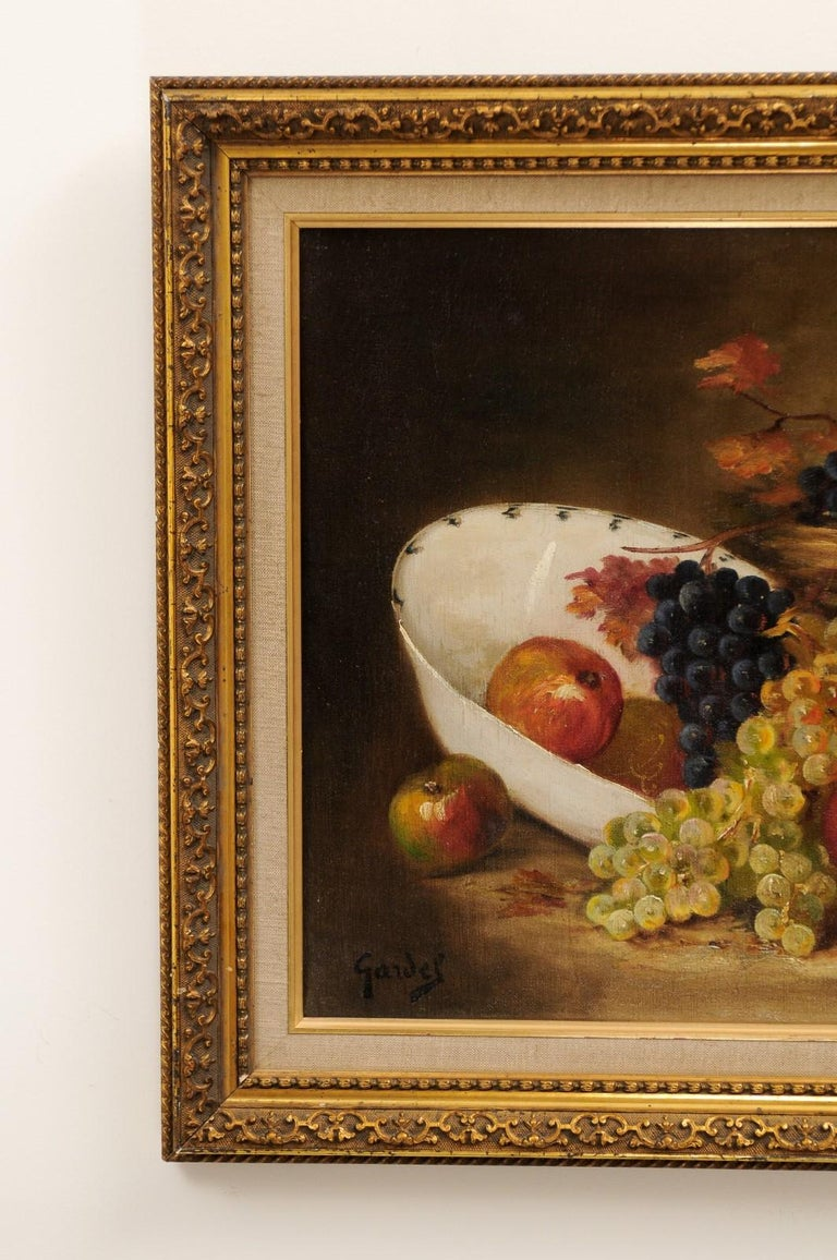 French 19th Century Oil on Canvas Framed Still-Life Painting Depicting Fruits For Sale 1