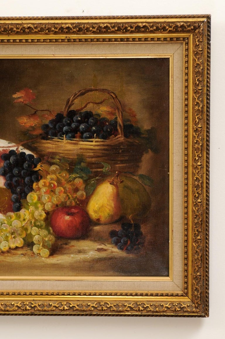 French 19th Century Oil on Canvas Framed Still-Life Painting Depicting Fruits For Sale 2