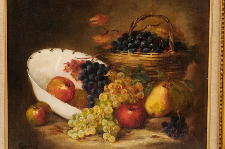 French 19th Century Oil on Canvas Framed Still-Life Painting Depicting Fruits For Sale 3