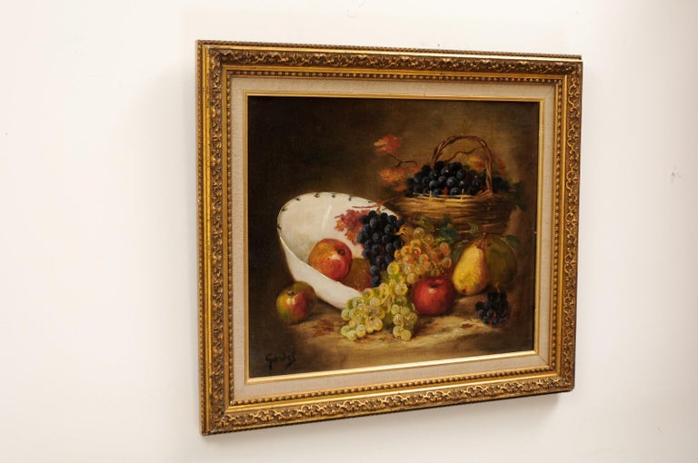 French 19th Century Oil on Canvas Framed Still-Life Painting Depicting Fruits For Sale 4