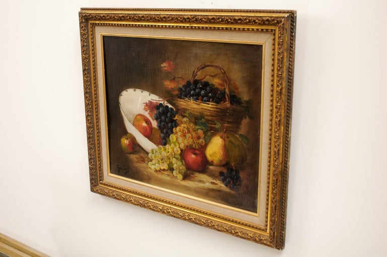 French 19th Century Oil on Canvas Framed Still-Life Painting Depicting Fruits For Sale 5