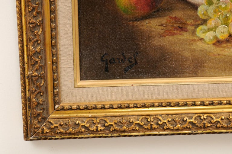 French 19th Century Oil on Canvas Framed Still-Life Painting Depicting Fruits For Sale 6