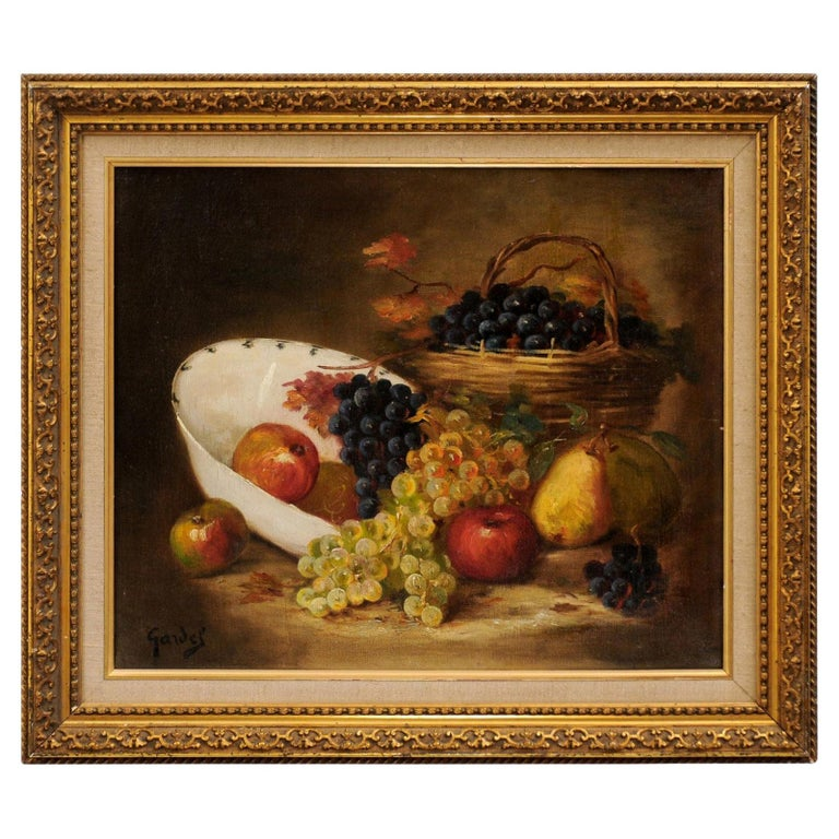 French 19th Century Oil on Canvas Framed Still-Life Painting Depicting Fruits For Sale