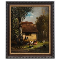 French 19th Century Oil on Canvas Painting Depicting Roosters in a Barnyard