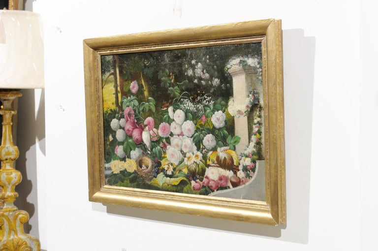 French 19th Century Oil on Canvas Still-Life Painting Depicting Colorful Flowers For Sale 7
