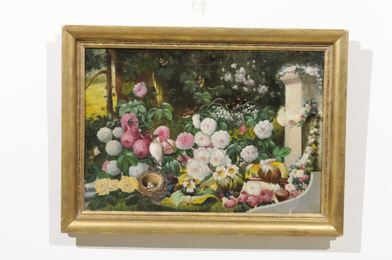 French 19th Century Oil on Canvas Still-Life Painting Depicting Colorful Flowers In Good Condition For Sale In Atlanta, GA
