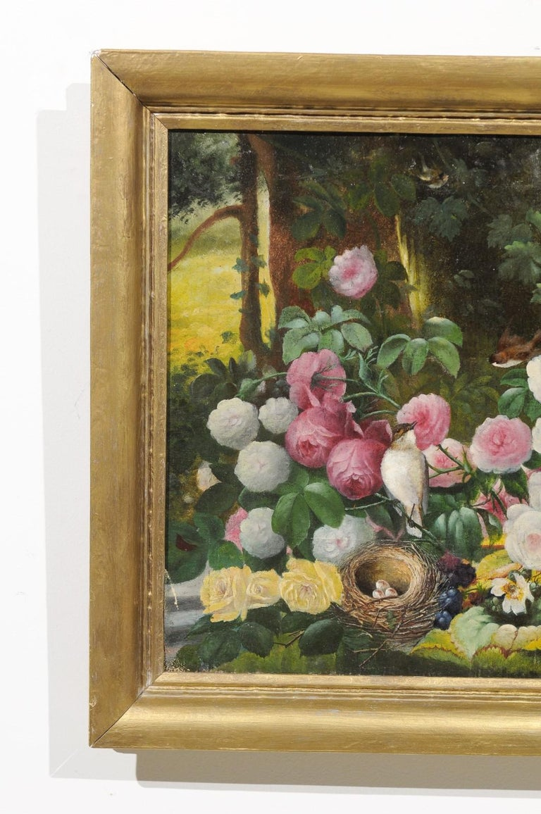 French 19th Century Oil on Canvas Still-Life Painting Depicting Colorful Flowers For Sale 1