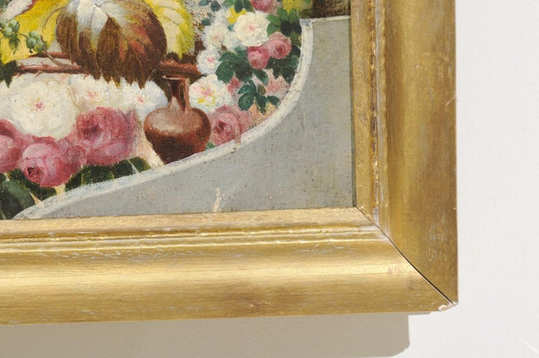 French 19th Century Oil on Canvas Still-Life Painting Depicting Colorful Flowers For Sale 3