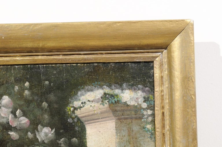 French 19th Century Oil on Canvas Still-Life Painting Depicting Colorful Flowers For Sale 4