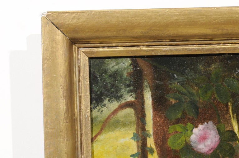 French 19th Century Oil on Canvas Still-Life Painting Depicting Colorful Flowers For Sale 5