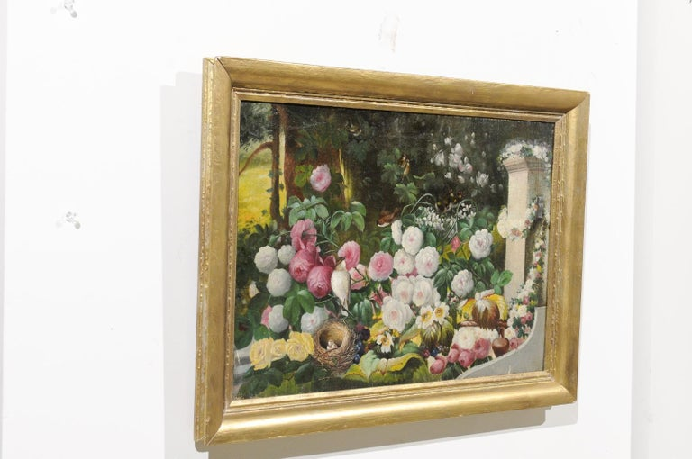 French 19th Century Oil on Canvas Still-Life Painting Depicting Colorful Flowers For Sale 6