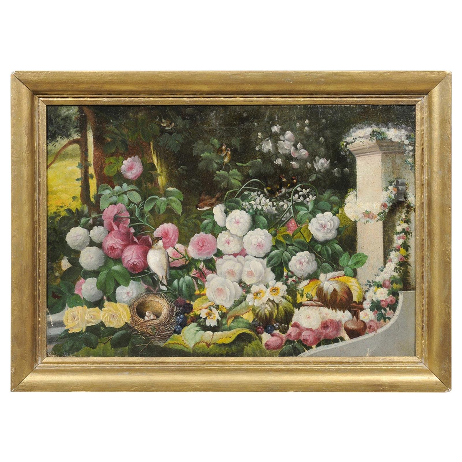French 19th Century Oil on Canvas Still-Life Painting Depicting Colorful Flowers