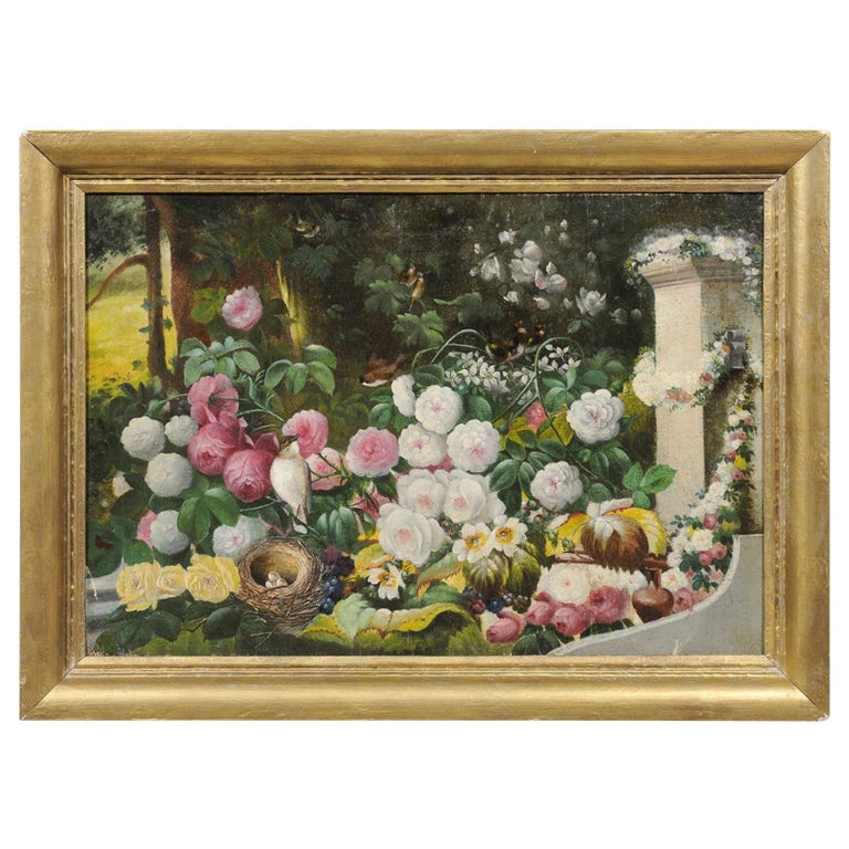 French 19th Century Oil on Canvas Still-Life Painting Depicting Colorful Flowers For Sale