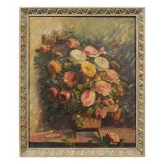 French 19th Century Oil on Canvas Still-Life Painting Depicting Roses in Basket