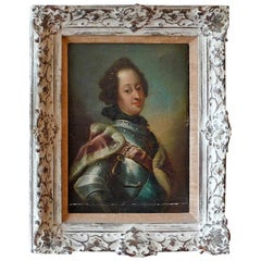 French 19th Century Oil on Canvas with Carved Wood Frame