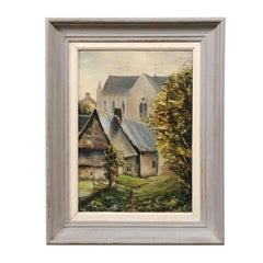 French 19th Century Oil on Wood Painting Depicting a Church in Brittany