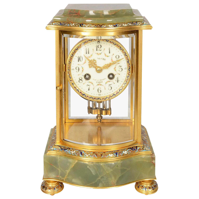French 19th Century Onyx and Enamel Mantel Clock