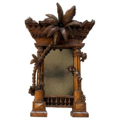 French 19th Century Orientalist Carved Walnut Frame Modelled as a Classical Ruin