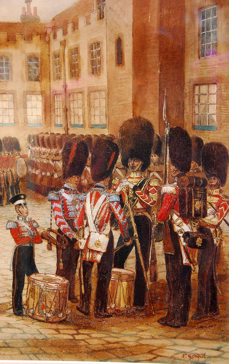 English French 19th Century Original Military Watercolor by Frederick Goupil Fesquet For Sale