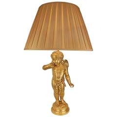 French 19th Century Ormolu Cherub Lamp