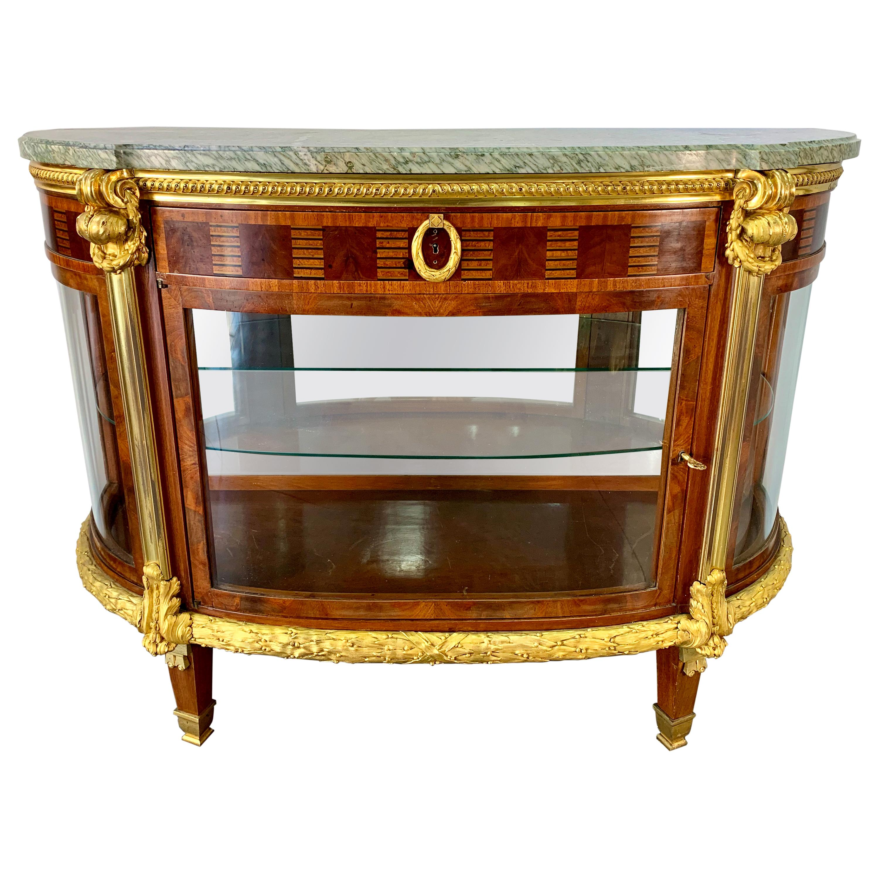 French 19th Century Ormolu Mounted D-Shaped Commode or Vitrine