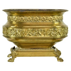 French 19th Century Oval Brass Wine Cooler or Cache Pot with Repoussé of Cherubs