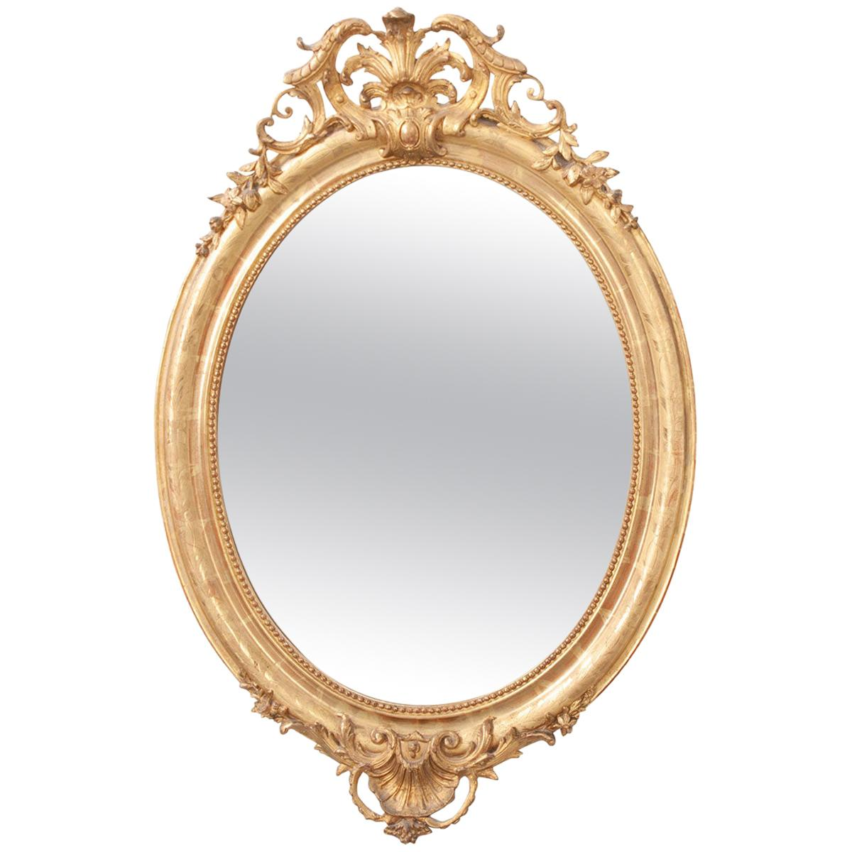 French 19th Century Oval Gold Gilt Mirror